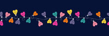 Multi-colored Valentine's Day Holiday Intertwined Heart Shape String Lights On Dark Background Vector Seamless Horizontal Border Pattern. Rainbow Festive Love Background