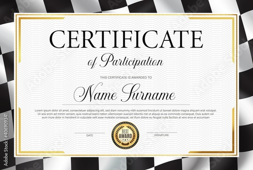 Certificate of participation, diploma vector template with black and white chequered rally flag. Racing victory success celebration diploma for best result achievement. Race winner award border design