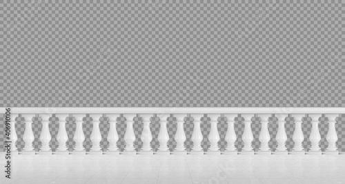 Fotografia White marble balustrade for balcony or terrace