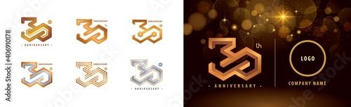 Obraz na płótnie Set of 30th Anniversary logotype design, Thirty years anniversary celebration