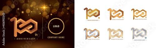Photo Set of 100th Anniversary logotype design, Hundred years anniversary celebration