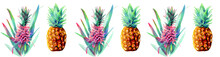 Horizontal Watercolor Border Of Pineapples Isolated On A White Background. Ananas Pink And Yellow. Pineapple Flower And Ripe Fruit. Hand Drawn Watercolor Illustration.Botanical Drawing For Design