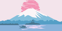 Fuji Mountain Sunrise Landscape Japan Panorama. Lake Sun Boat Asian Temple