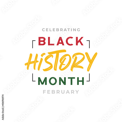 Obraz African-Americans Black history month lettering background vector illustration - fototapety do salonu