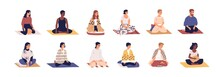 Set Of People Sitting Cross Legged In Lotus Pose And Practicing Yoga, Meditation And Breathing Exercises. Calm And Relaxed Men And Women Meditating On Mats. Color Flat Vector Isolated Illustrations