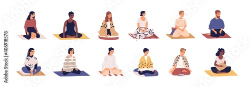 Obraz Set of people sitting cross legged in lotus pose and practicing yoga, meditation and breathing exercises. Calm and relaxed men and women meditating on mats. Color flat vector isolated illustrations - fototapety do salonu