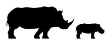 Black Silhouettes Of Standing Rhinoceros And Calf Isolated On White Background. Vector Illustration