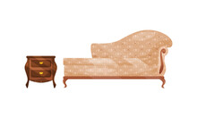 Antique Vintage Furniture Items With Upholstered Sofa And Bedside Chest Vector Set