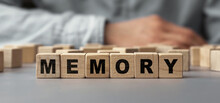 The Word MEMORY Made From Wooden Cubes. Selective Focus
