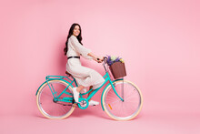 Full Length Body Size Photo Of Pretty Woman Riding Bike With Wild Flowers In White Dress Isolated On Pastel Pink Color Background
