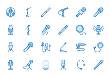Mic Flat Line Icons Set. Podcast Mike, Journalist Microphone, Karaoke, Conference, Windscreen, Retro Radio Vector Illustration. Outline Pictogram For Music Store. Blue Color, Editable Stroke