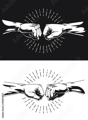 Photographie Silhouette Bro Fist Bump Handshake Knuckle
