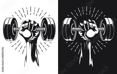 Obraz na plátně Silhouette Hand Holding Fixed Weight Dumbbells