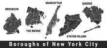New York City Boroughs Map Set. Manhattan, Brooklyn, The Bronx, Staten Island, Queens.