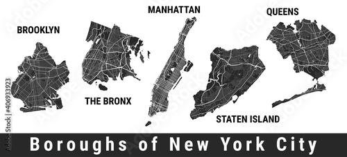 Fotografia New York city boroughs map set
