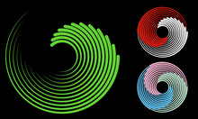 Abstract Background With Lines. Halftone Design In Circles. Circular Color Element As Logo Or Icon.