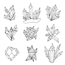 Set Of Healing Crystals Isolated On A White Background. Hand Drawn Vector Illustration In Doodle Style. Collection Of Black And White Mystical Crystals For Relaxing Coloring For Children And Adults.