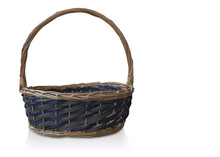 Front View Beautiful Blue And Green Wooden Basket On Isolated Background, Object, Vintage, Copy Space