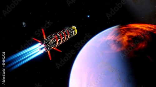 Платно spacecraft flies over a alien planet, space tourism, tourist spacecraft, commerc