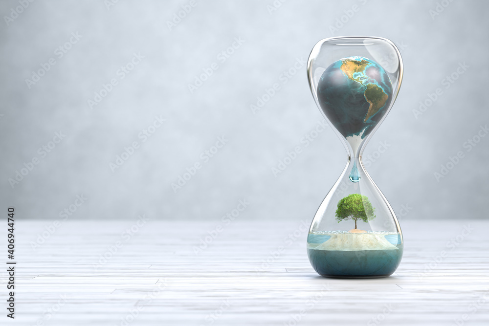 Fototapeta Earth planet in hourglass, Global warming concept.