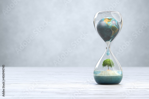 Earth planet in hourglass, Global warming concept.