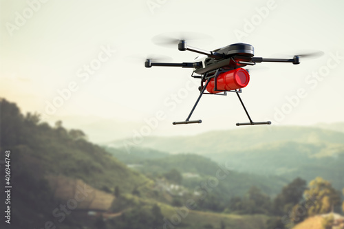 Cuadros en Lienzo Fire fighting drone concept, Extinguish fire with drone