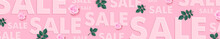 Sale Banner Design Template. Vector Illustration With Pink Roses And Green Leaves