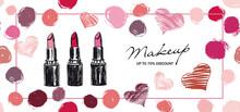 Makeup Set. Lipstick Hand Drawn Style. Vector.