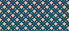 Pattern With Symmetrically Arranged Orange Squares On A Blue Background