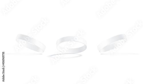 Slika na platnu Blank white silicone wristband mockup, no gravity, isolated