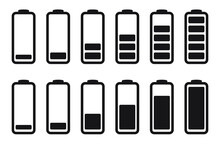 Battery Charge Indicator Icons, Vector Graphics