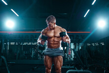 Bodybuilder Athlete Man Pumping Up Muscles In The Gym With Dumbbells. Brutal Strong Muscular Guy On Fitness Workout. Bodybuilding Concept.