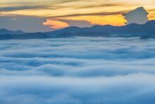 Khao Khai Nui, Sea Of Fog In The Winter Mornings At Sunrise, New Landmark To See Beautiful Scenery At Thailand.
