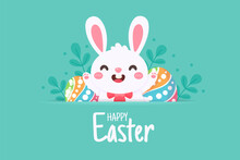 Cartoon Little Bunny With Long Ears Jumping Happily On The Green Meadow With Easter Eggs In Spring