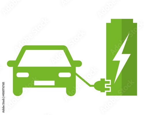 Obraz Electric car at the charging station. Green vector icon illustration pictogram. - fototapety do salonu