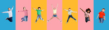 Collage With Joyful Kids Jumping Having Fun On Colorful Backgrounds