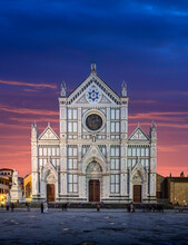 The Basilica Di Santa Croce (Basilica Of The Holy Cross), A Franciscan Church In Florence, Italy At Night. There Is The Tomb Of Gallileo.