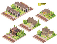 Vector Isometric Buildings And Street Elements Set. Suburban And Village Houses, Homes. Isometric City Or Town Map Construction Elements