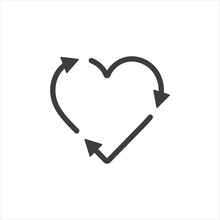 Vector Illustration Symbol Heart Shaped Reload Icon On White Isolate