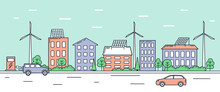 Eco Friendly Urban Landscape With Modern Technologies. Cityscape Architecture With Solar Panels On Roof, Windmills, And Electric Charging Station For Transport. Cartoon Line Art Vector Illustration.