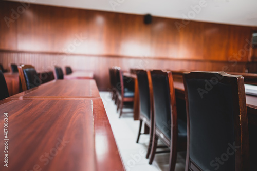 Table and chair in the courtroom of the judiciary. Wallpaper Mural