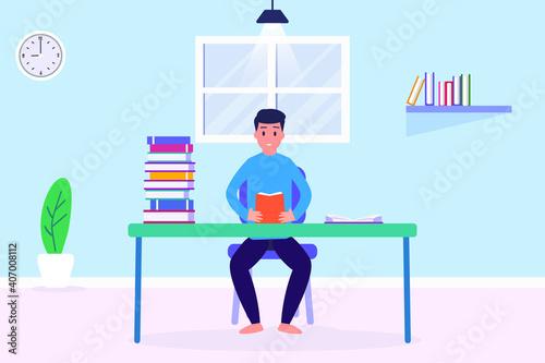 Slika na platnu Young man study 2D flat vector concept for banner, website, illustration, landin