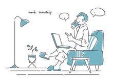 スマホで話しながら自宅で快適にテレワークする男性のおしゃれでシンプルな線画イラスト グレー&ブルー