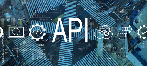 API - application programming interface concept with busy city traffic intersection