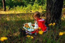 Girl In The Forest In Red Clothes, Little Red Riding Hood