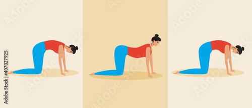 Yoga asanas progress, woman isolated, flat vector stock illustration, young pers Fotobehang