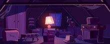 House Attic At Night, Storage Of Old Furniture And Items Under Roof. Vector Cartoon Interior Of Dark Attic Room With Vintage Chair, Broken Closet, Toaster, Glowing Lamp And Cardboard Box With Books