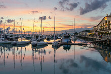 Small Sailboats In The Harbor Of The Sochi Seaport Against The Background Of The Sea Station