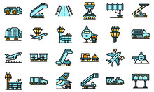 Airport Ground Support Service Icons Set. Outline Set Of Airport Ground Support Service Vector Icons Thin Line Color Flat On White