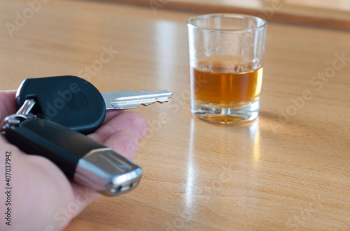 Alcoholic drink and car keys - do not drink and drive concept Wallpaper Mural